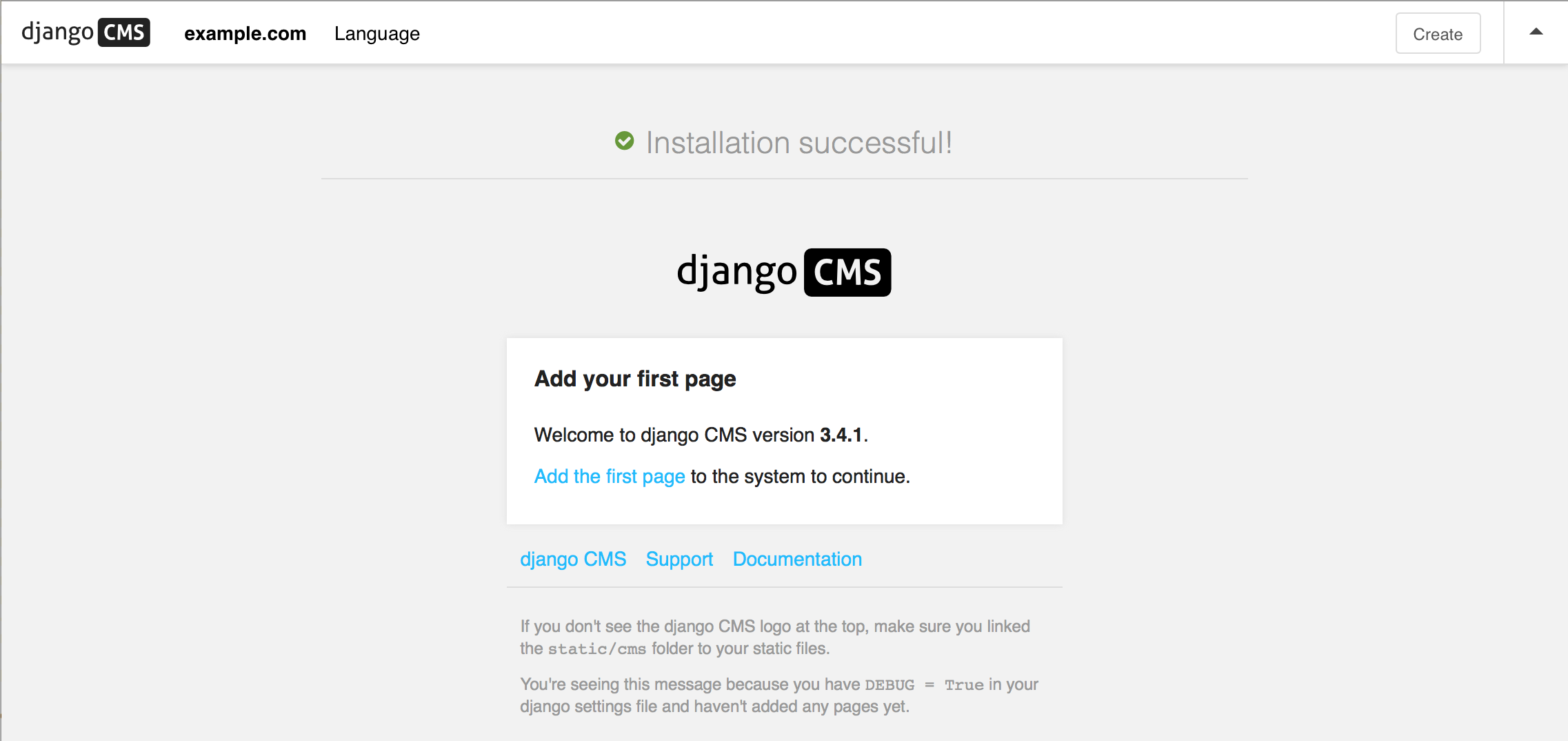 How to install django CMS by hand — django cms 3.5.2 documentation