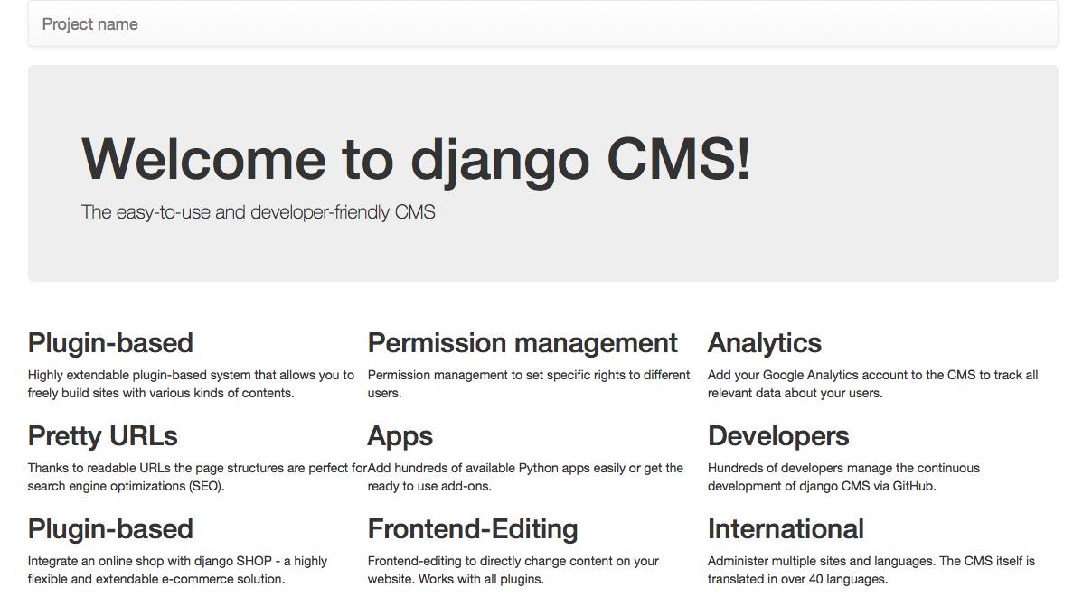 a django CMS home page